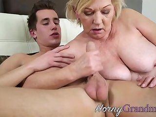 Old  woman railed by hot young stud