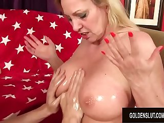 Busty Granny Cala Craves Gives an Oily Titjob and Gets Pummeled