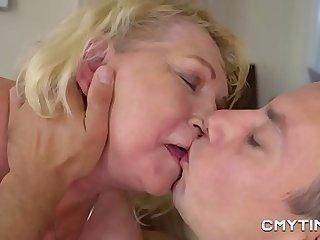 Meaty blonde grandma fucked hard