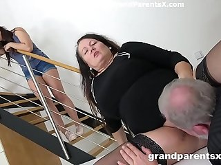 Grandpa fucks his fat wife and stepdaughter