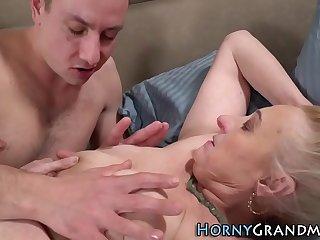 Tongued grandma gets fucked