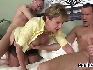 Unfaithful english milf lady sonia shows her large jugs