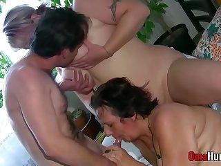 Grannies with full bush in gonzo fuck scenes