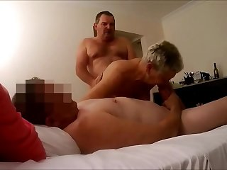 Grandma Fucked by Bull While Sucking Hubby Dick