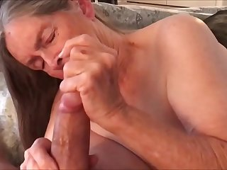 Grandma in Lingerie Handjob and Drinking Cum