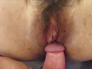 Creampie Inside Hairy Pussy Cum in Hot Mature Wife