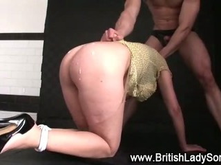 Mature bound brit Lady Sonia fuck and cumshot