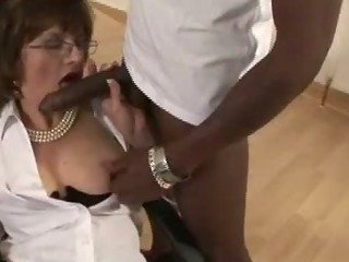 Mature stocking fetish slut black cock blowjob