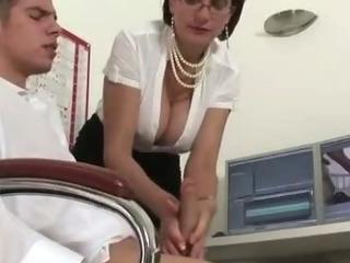 Mature stocking fetish slut sucking cock