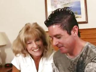 Horny gilf Cam sucking a young dick then fucking him