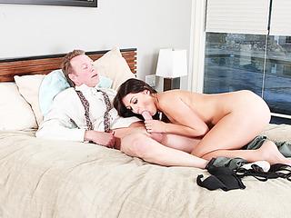 Pretty brunette loves sucking her stepdad monster hard rock cock