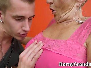 Wrinkled old blonde sucks cock